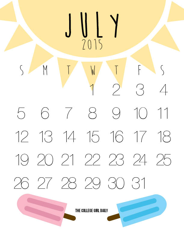 Free, printable, design, calendar, July 2015,