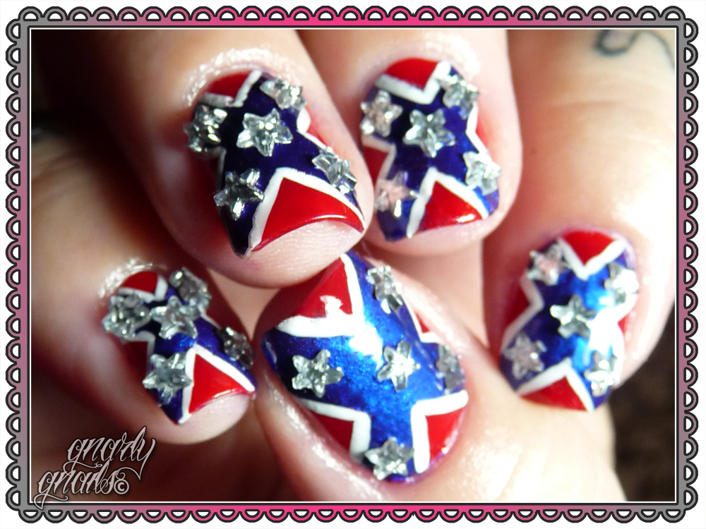 3031 day challenge day 28 flag gnarly gnails i started off this mani with the balms hot ticket polish in better off red then i taped out triangles and painted on nyc pier 17 freehanded in white lines prinsesfo Gallery