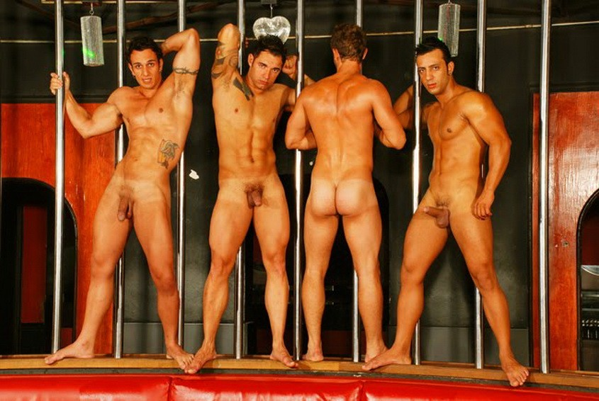 Naked strippers on stage