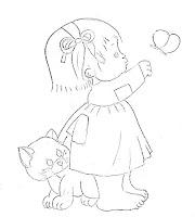 risco de menina morehead com gato e borboleta