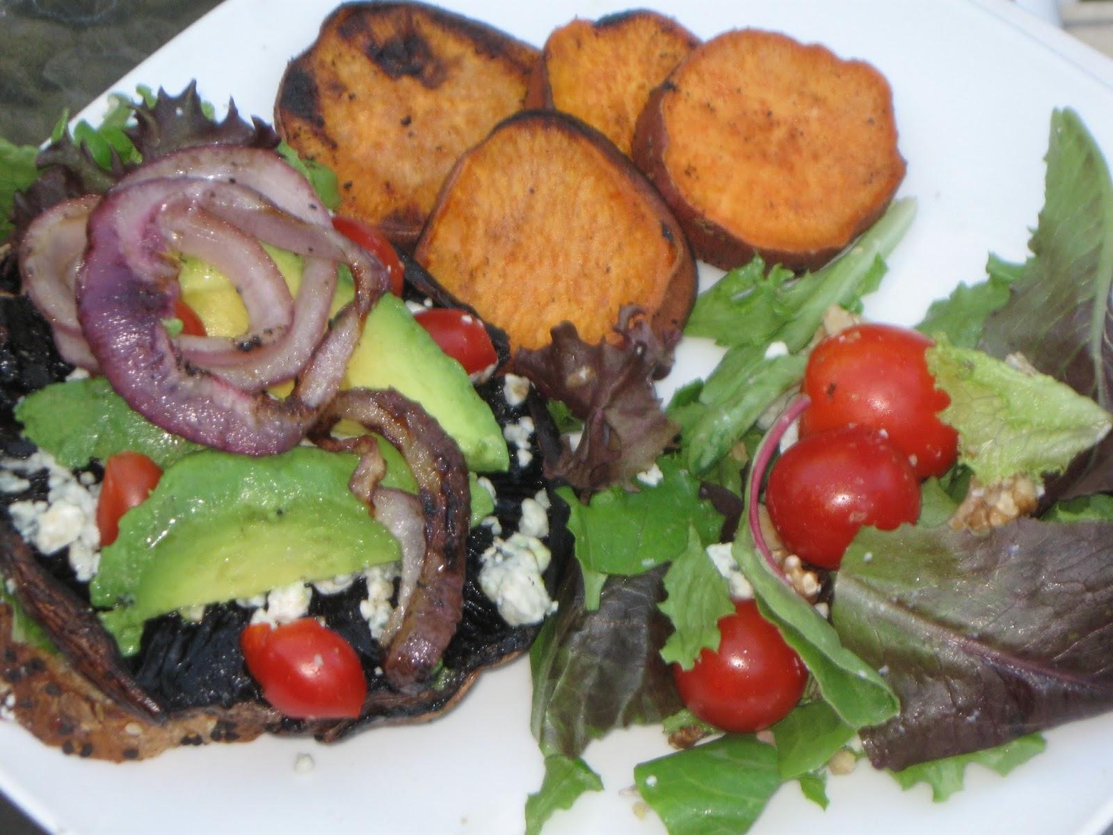 My First Garden: Vegetarian BBQ: Portobello Burger with Eggplant ...