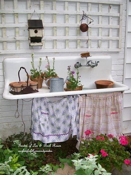 Old Sink Potting Bench