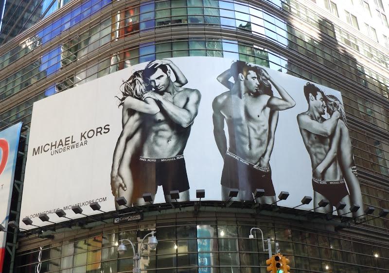 Michael Kors underwear billboard Times Square