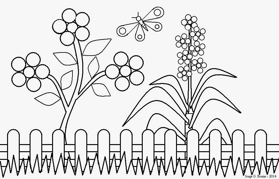 Arte no Paint Desenho para colorir jardim