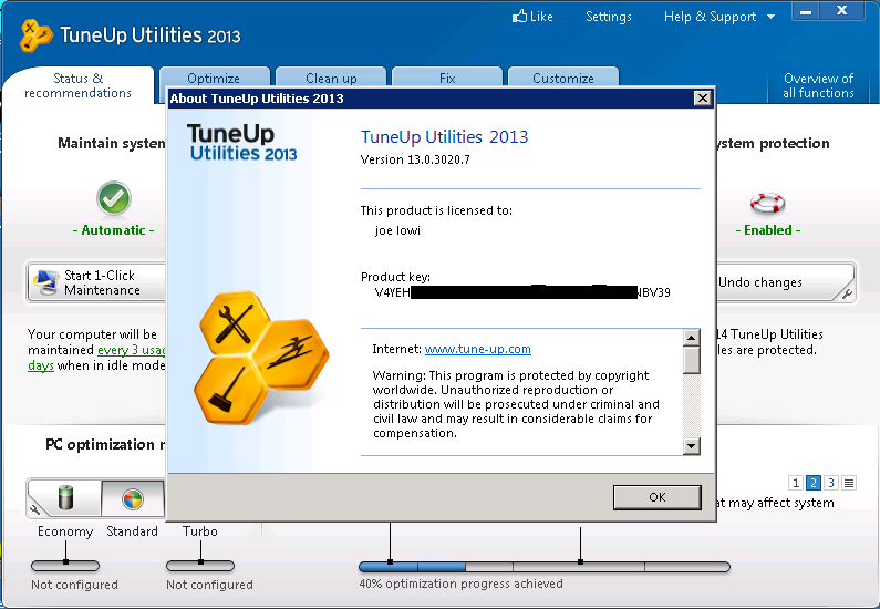 tuneup utilities 2013 product key free