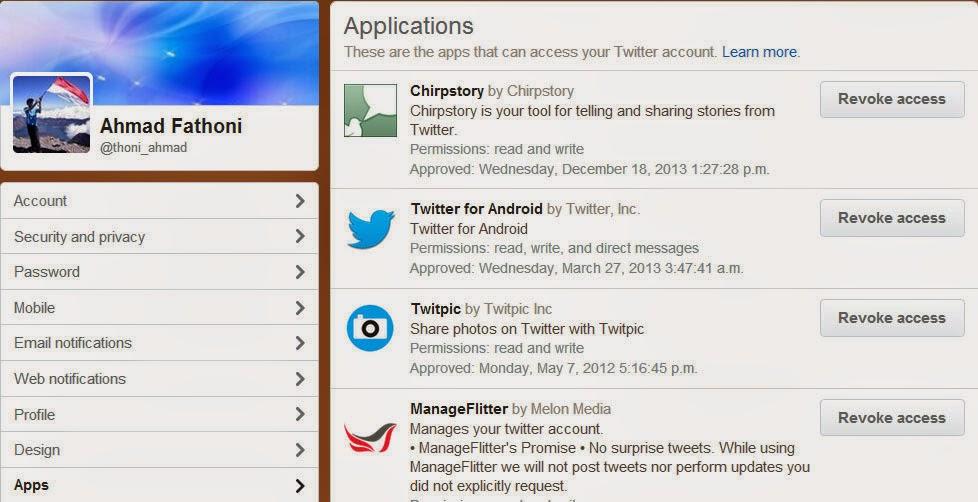 cara menghapus aplikasi pada akun twiiter