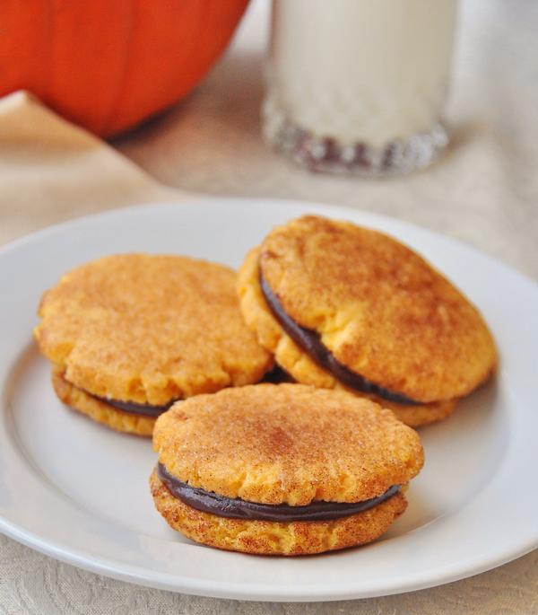 Soft Pumpkin Spice Chocolate Ganache Cookies