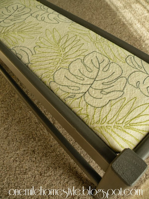 Dark Gray bench with tropical leaf fabric