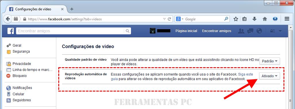 Facebook - Reprodução de vídeos ativada