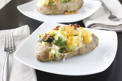 Cheddar Broccoli and Bacon Stuffed Potatoes