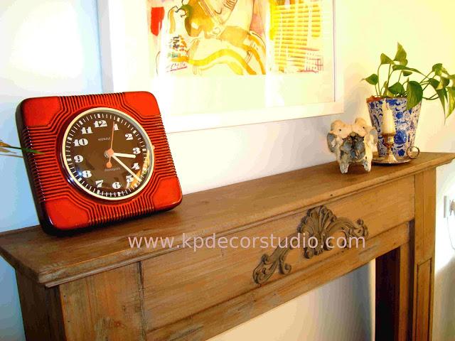comprar reloj antiguo de pared color naranja. comprar reloj vintage online