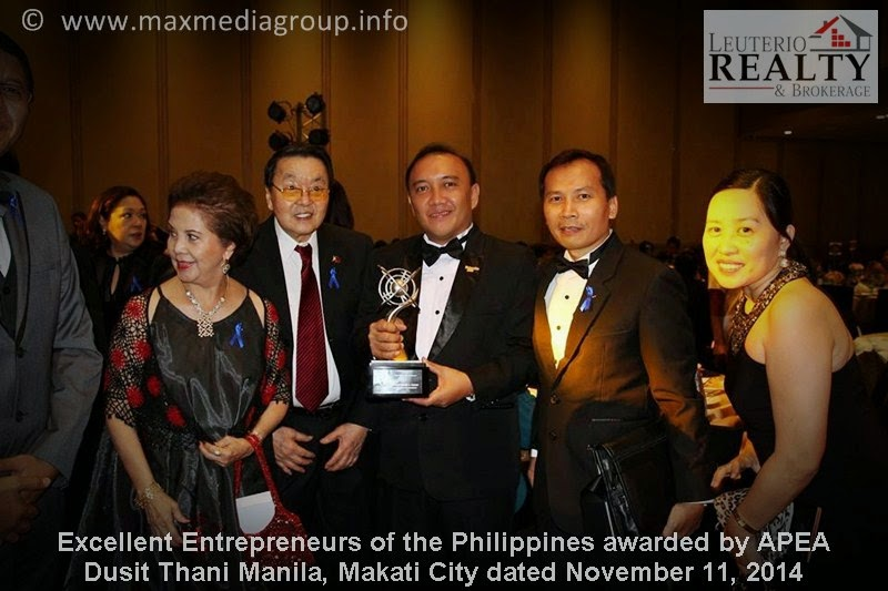 Excellent Entrepreneurs of the Philippines awarded by APEA - Leuterio Realty & Brokerage