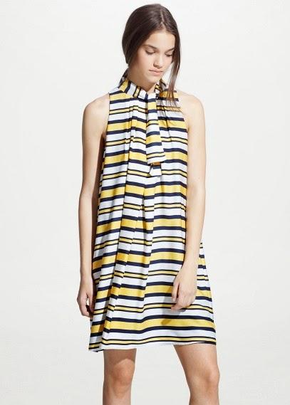Mango 2015 Elbise Modelleri  çizgili kısa yazlık elbise, günlük elbise