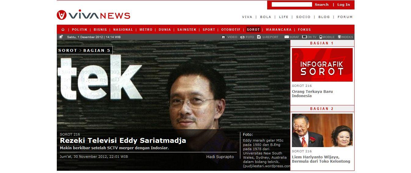 Berita hari ini : rezeki televisi eddy sariatmadja