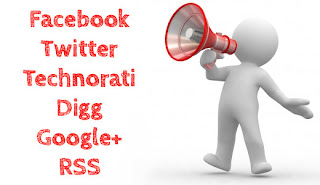promote facebook google+ twitter digg rss