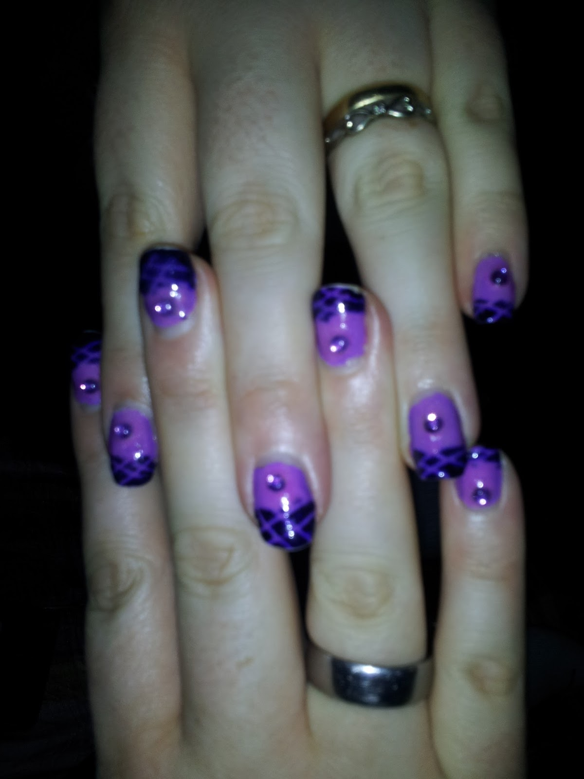Nail Art: Light Purple Lattice Stamping on Dark Purple tips with ...