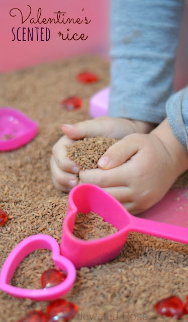Valentines play activities with chocolate sensory rice-  The aroma improves mood and stimulates the mind.  Stimulating brain function through scent is fantastic for when children are engaged in learning activities.
