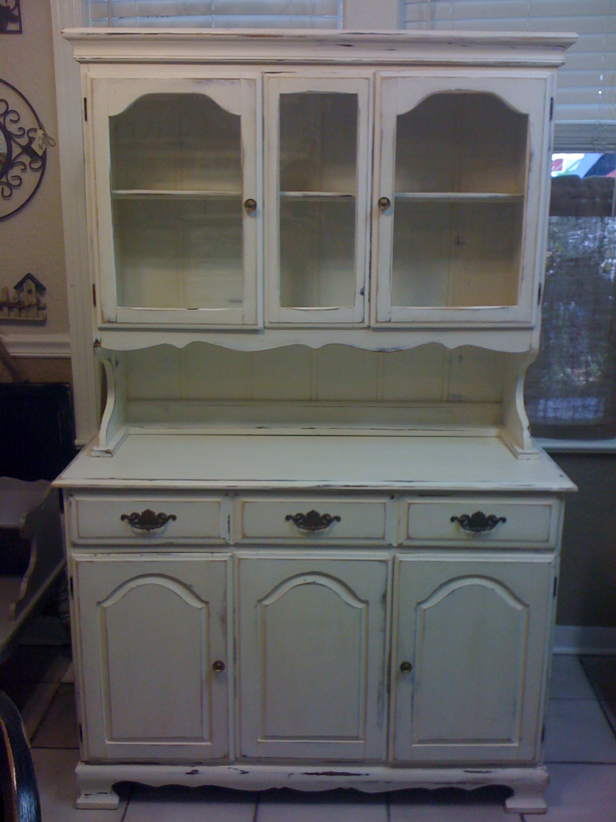 Piece White Hutch with glass inserts!!