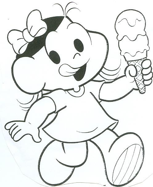desenho magali tomando sorvete colorir e pintar desenhos para