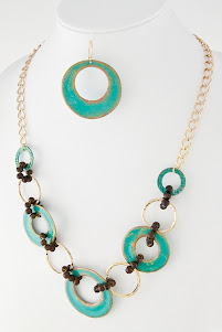 Turquoise Patina Link Necklace