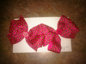 Pink Cheetah Bow Set