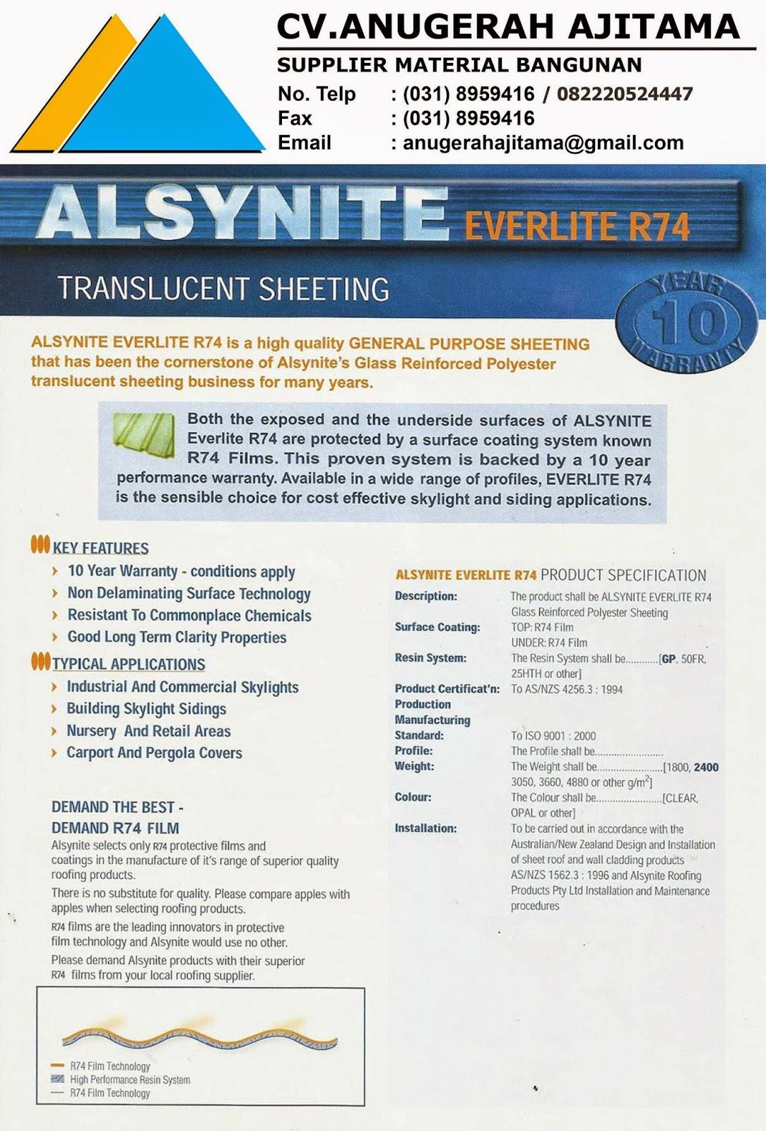 ATAP ALSYNITE EVERLITE R74 TRANSLUCENT ROOF