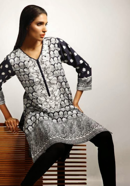 Khaadi Stylish Winter Wear Collection Black & White Dresses 2013-14 For Girls & Women