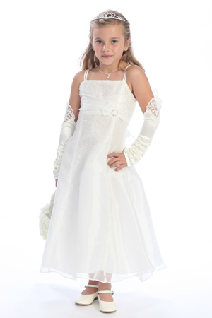white junior bridesmaid dress with handmade flower