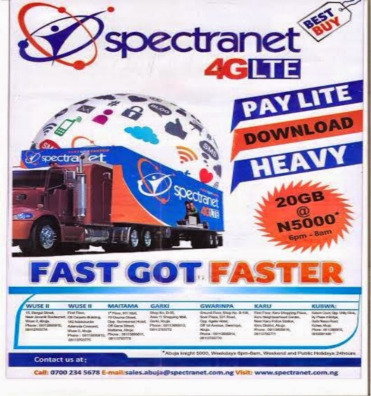 If you have loads of work to do, 4G Spectranet is for you for super fast internet browsing