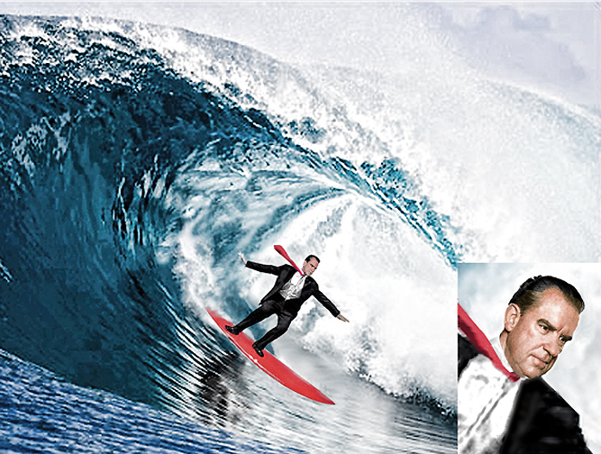 Richard Milhous Nixon Surfing in a Suit and Tie