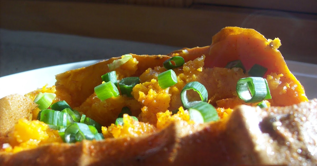red or green?: spicy baked sweet potatoes