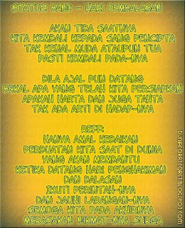Lyric Lagu Religi 2013/1434 (Bergambar) Statuz band- hari pembalasan