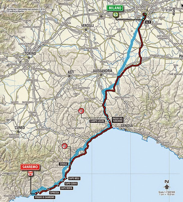 2015 route of Milan San Remo