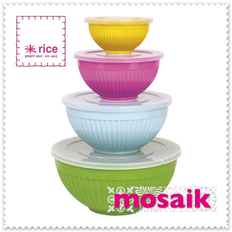 Melaminskålar med plastlock från rice, set om 4 i Naughty Green Mix