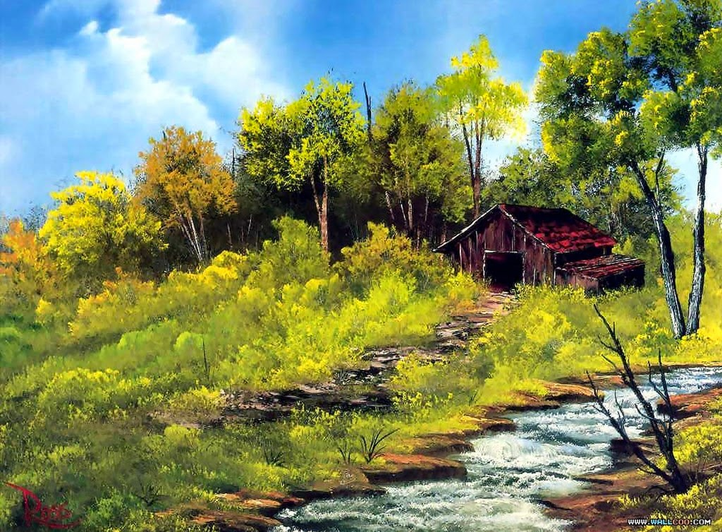 Cuadros modernos pinturas y dibujos paisajes con casas y - Paisajes de casas ...