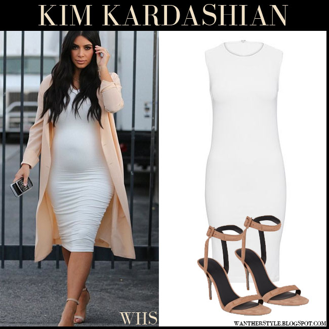 Kim Kardashian in white midi bodycon Wolford Bilbao dress, peach coat and beige suede ankle sandals Alexander Wang Antonia what she wore july 28