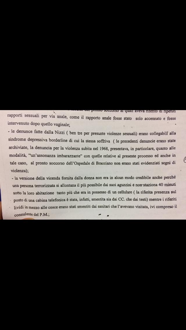 Un estratto dalla sentenza di assoluzione passata in giudicato