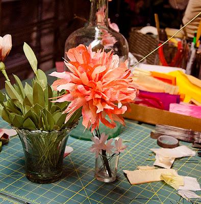 paper, textile flowers