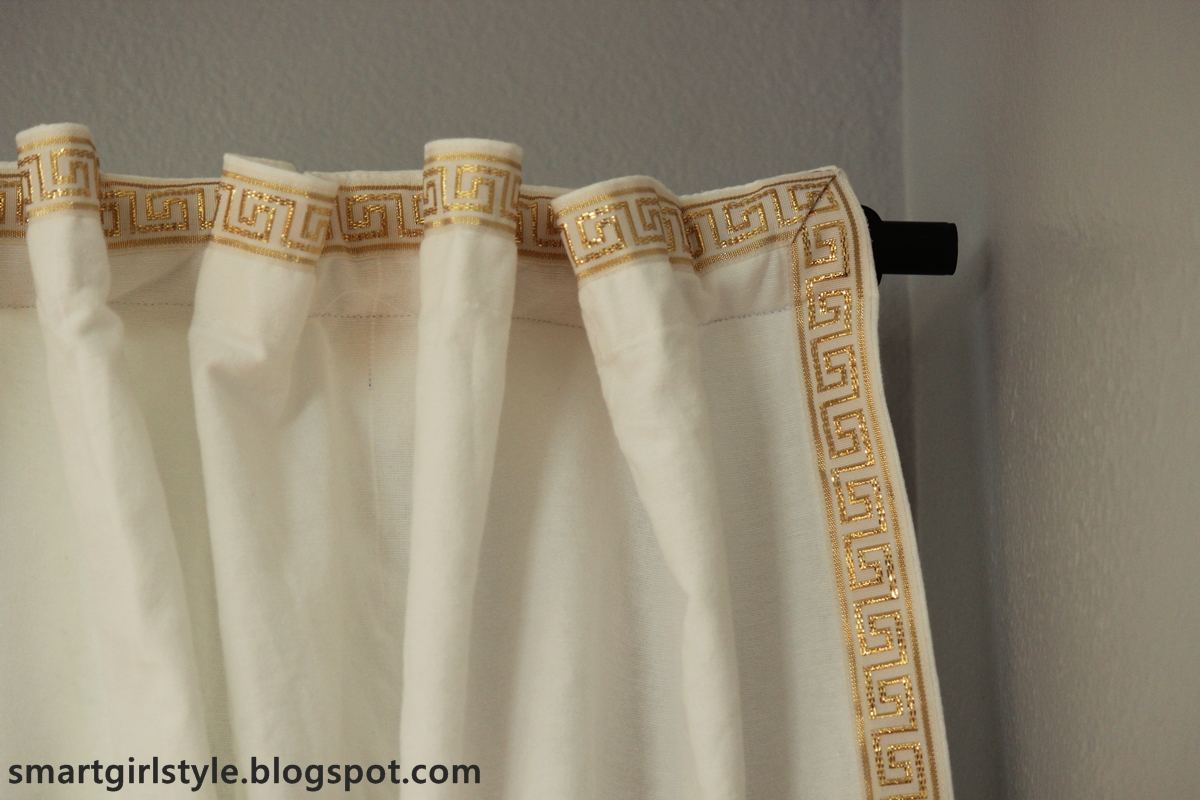 Smartgirlstyle greek key trim on dining room curtains