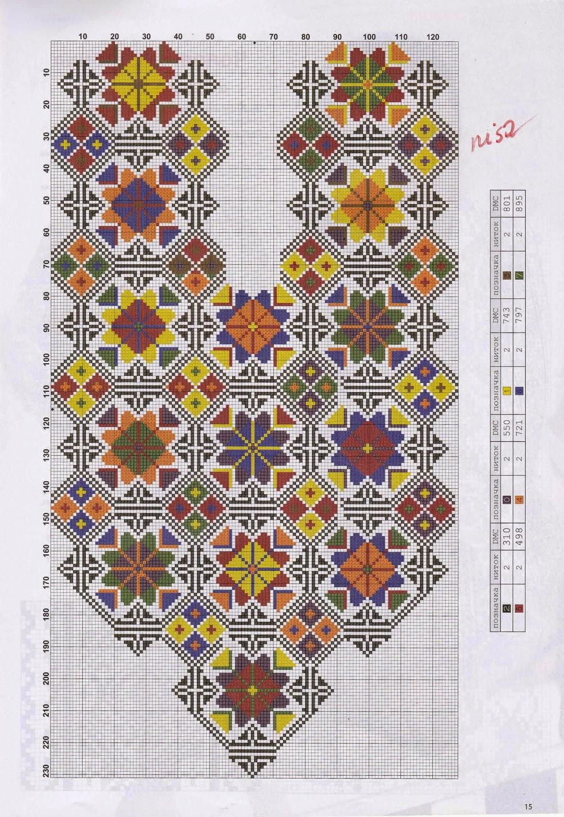Схема вышивки крестом вышиванки