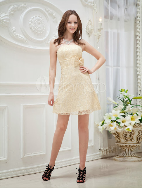 China Wholesale Clothes - Gold Strapless A-line Lace Bow Woman's Graduation Dress