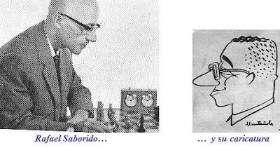 El ajedrecista español Rafael Saborido y su caricatura