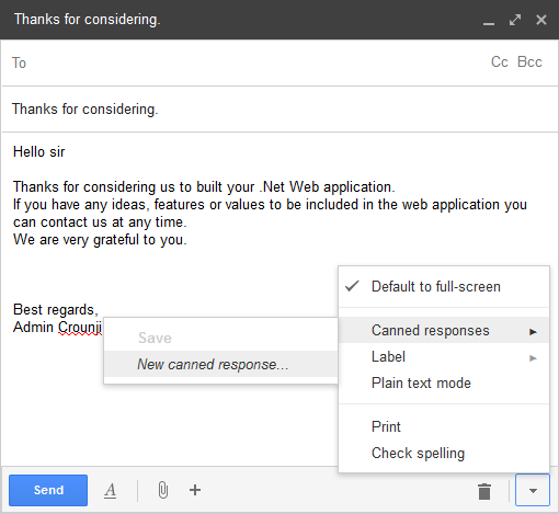 Send Canned Responses in Gmail