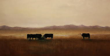 """Five cows"" 12x24"