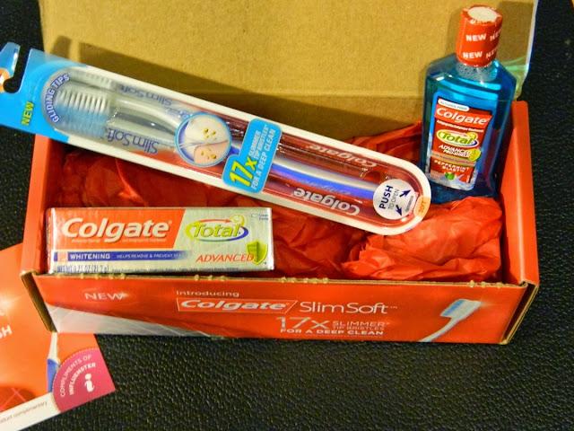 Colgate SlimSoft toothbrush, Colgate Total Advanced Whitening toothpaste, Colgate Total Advanced Pro-Shield mouthwash