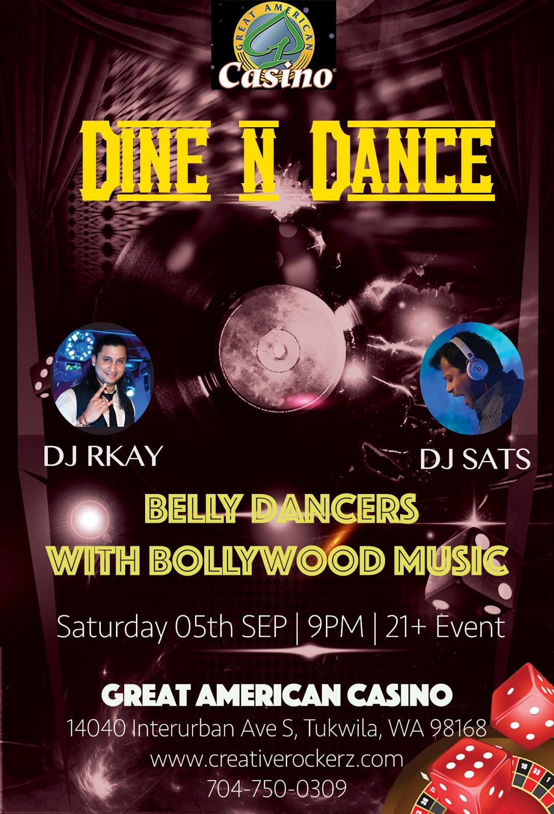 Seattle nightlife, Seattle Bollywood events, Seattle belly Dance performance, Seattle desi events, Dine n dance event,
