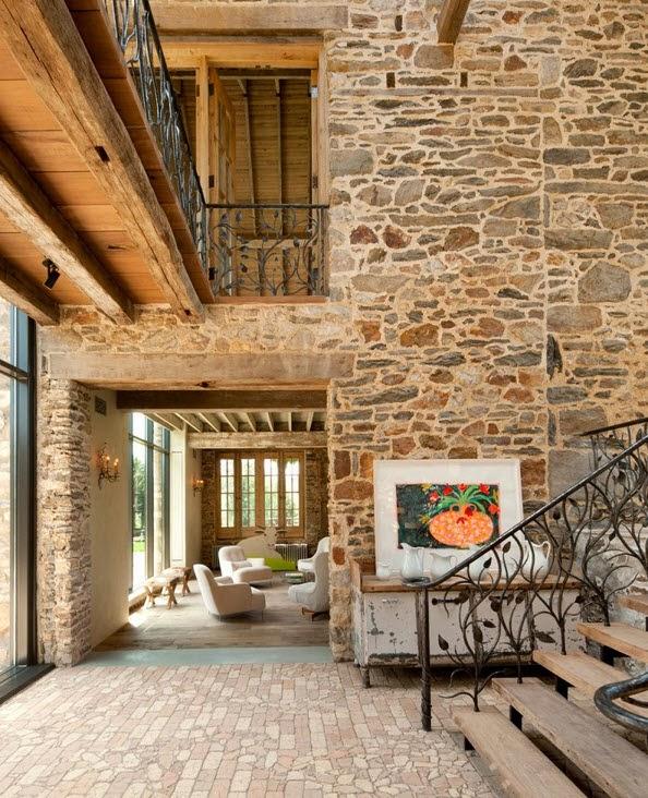 Remodelaci n de casa de piedra y madera en el campo - Pared piedra interior ...