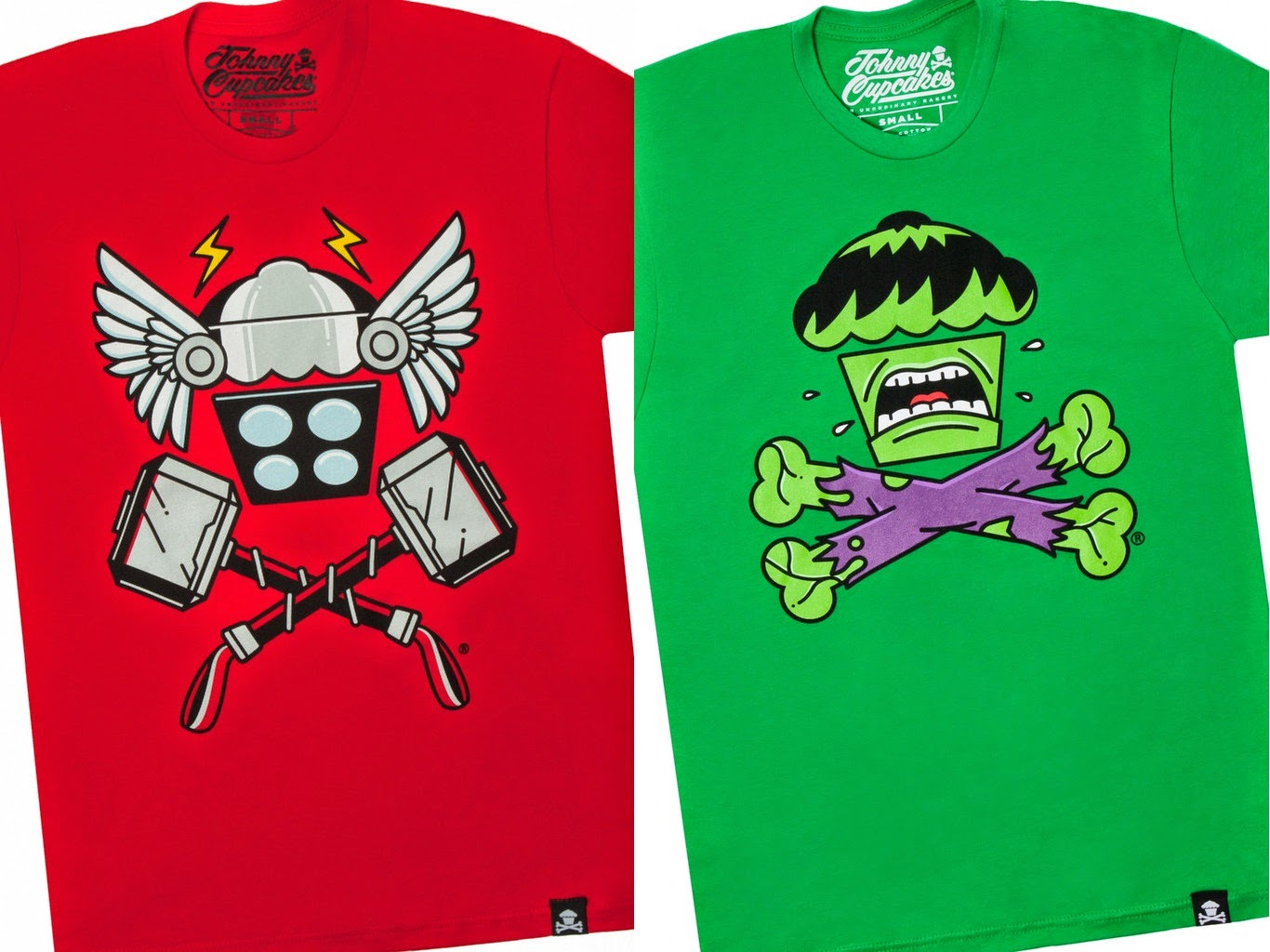 "The ""Cupcakes Converge!"" Avengers Age of Ultron Crossbones T-Shirt Collection by Johnny Cupcakes - Thor ""Thunder Crossbones"" & Hulk ""Angry Crossbones"""