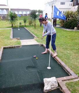 Photo of Emily Gottfried playing the 10th hole at Splash Point Mini Golf course in Worthing