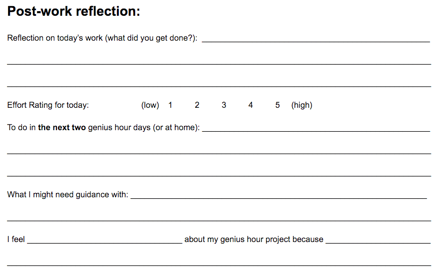 My Own Genius Hour: Reflection is Vital